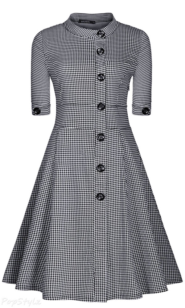 MIUSOL Vintage Stand-Up Collar Houndstooth-Print Dress