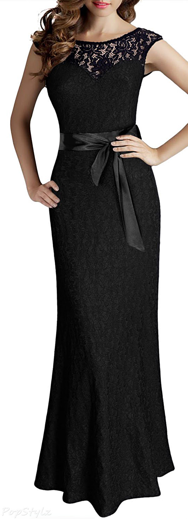 MIUSOL Sleeveless Halter Black Lace Maxi Dress