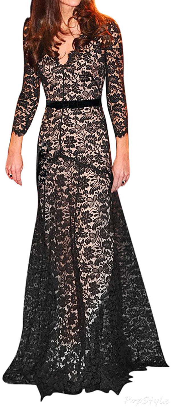 MIUSOL Long Lacy Special Occaion Dress