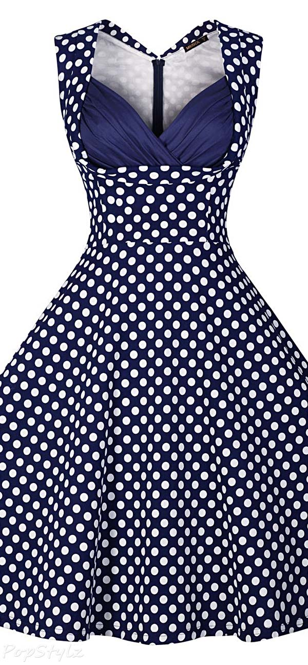 MIUSOL Womens 1950's Cut Out V-Neck Vintage Dress