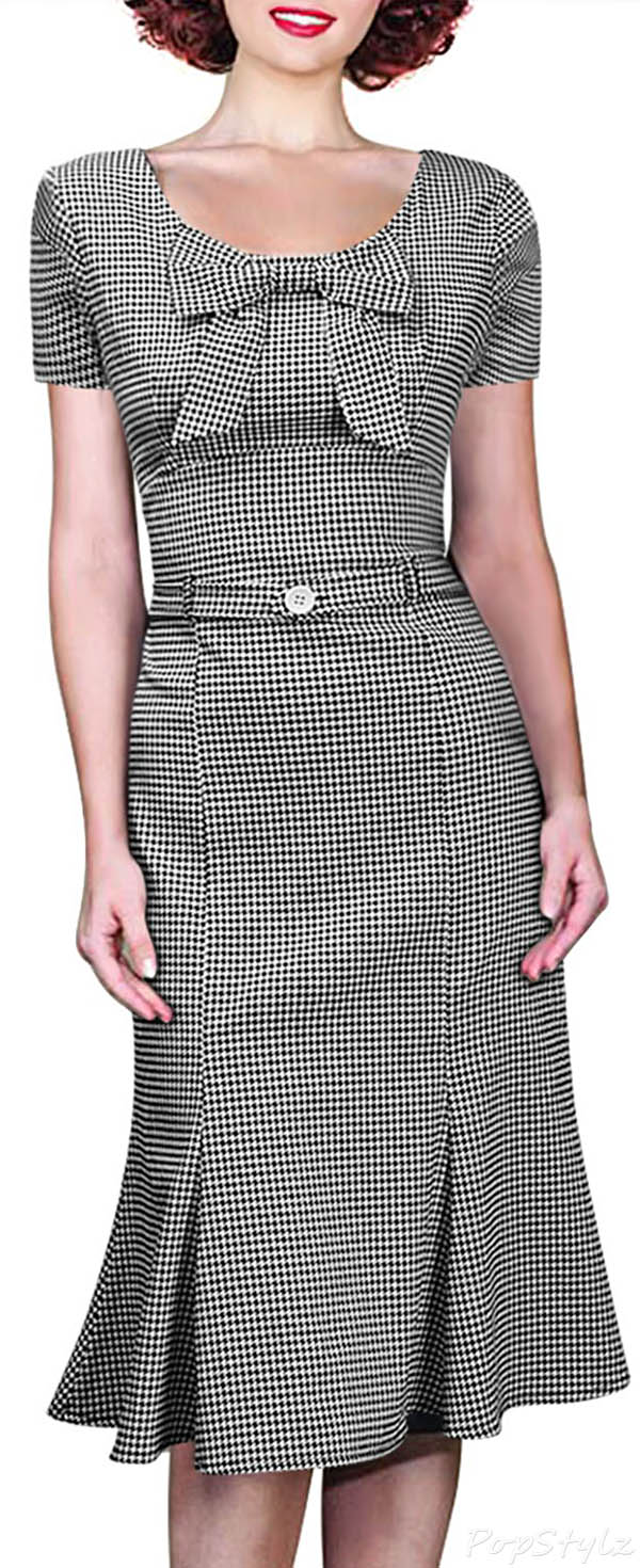 MIUSOL Vintage Houndstooth-Print Retro Dress