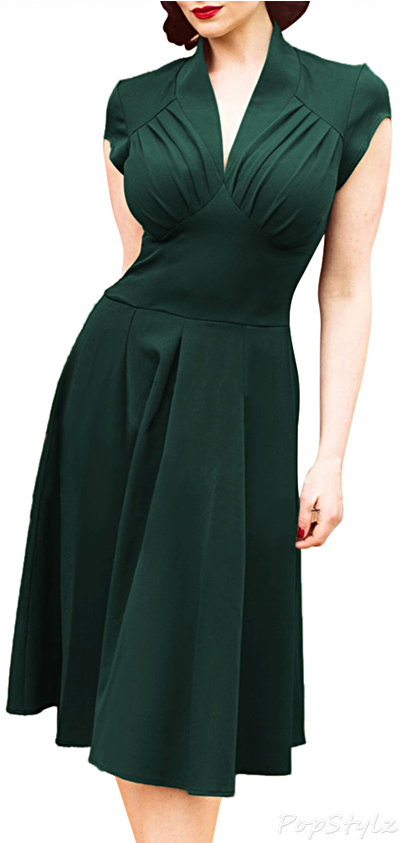 MIUSOL Deep-V Neck Cap Sleeve Vintage Dress