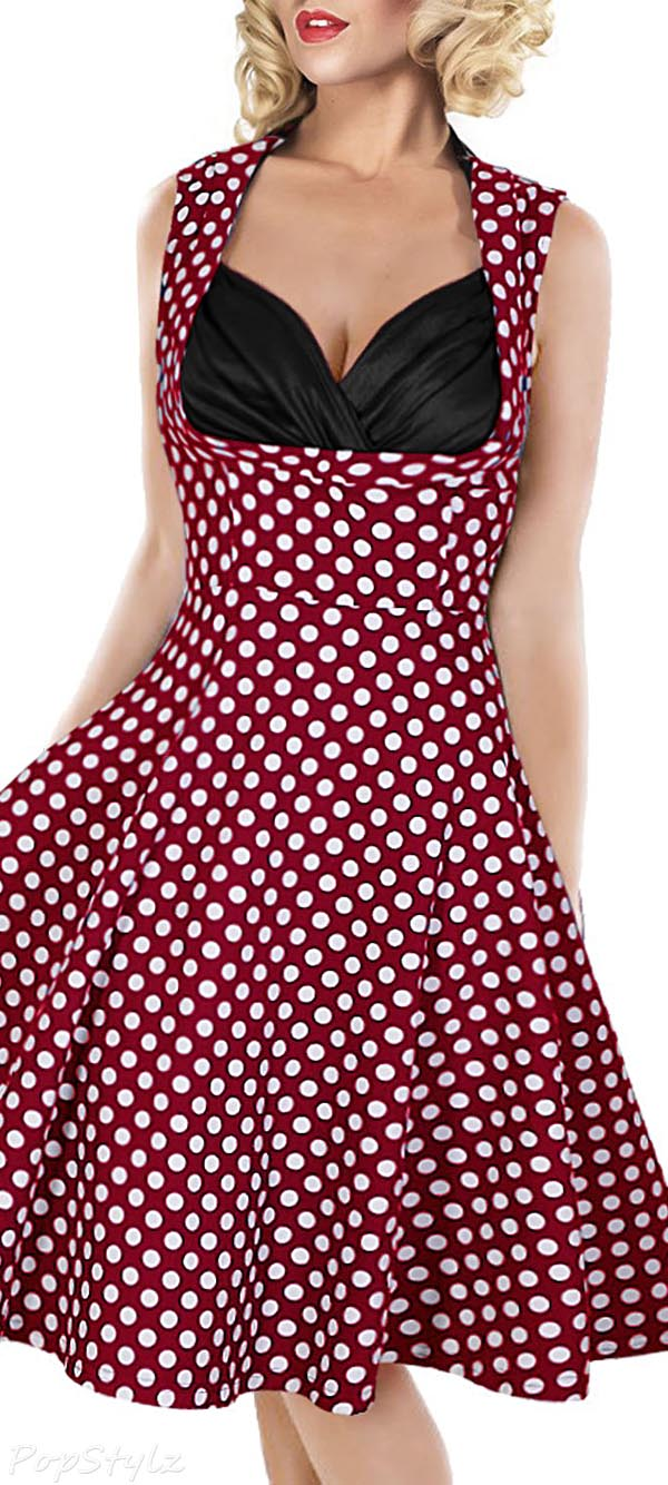 MIUSOL Cut Out V-Neck Vintage 1950'S Retro Dress