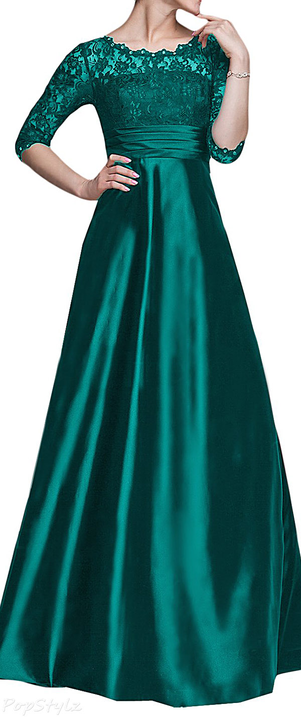 Sunvary Vintage Satin & Lace Formal Gown