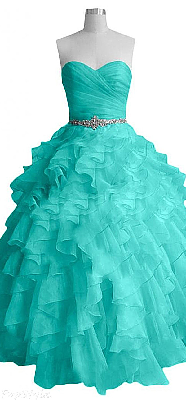 Sunvary Long Ruffled Evening Ball Gown