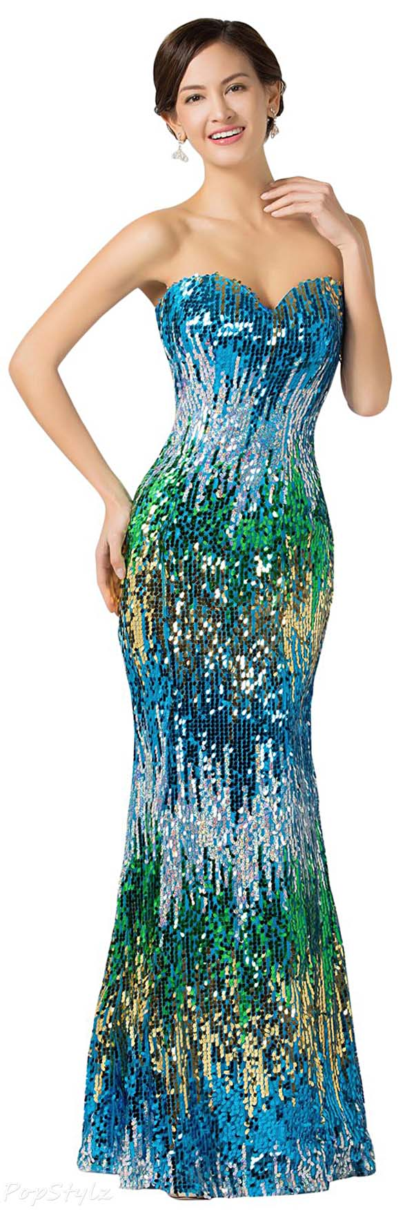 Grace Karin CL7517 Colorful Sequins Strapless Evening Gown