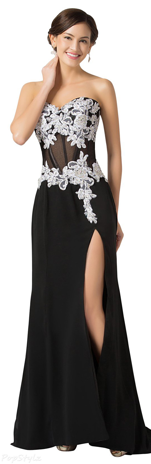 Grace Karin CL7519 Strapless High Split Evening Gown