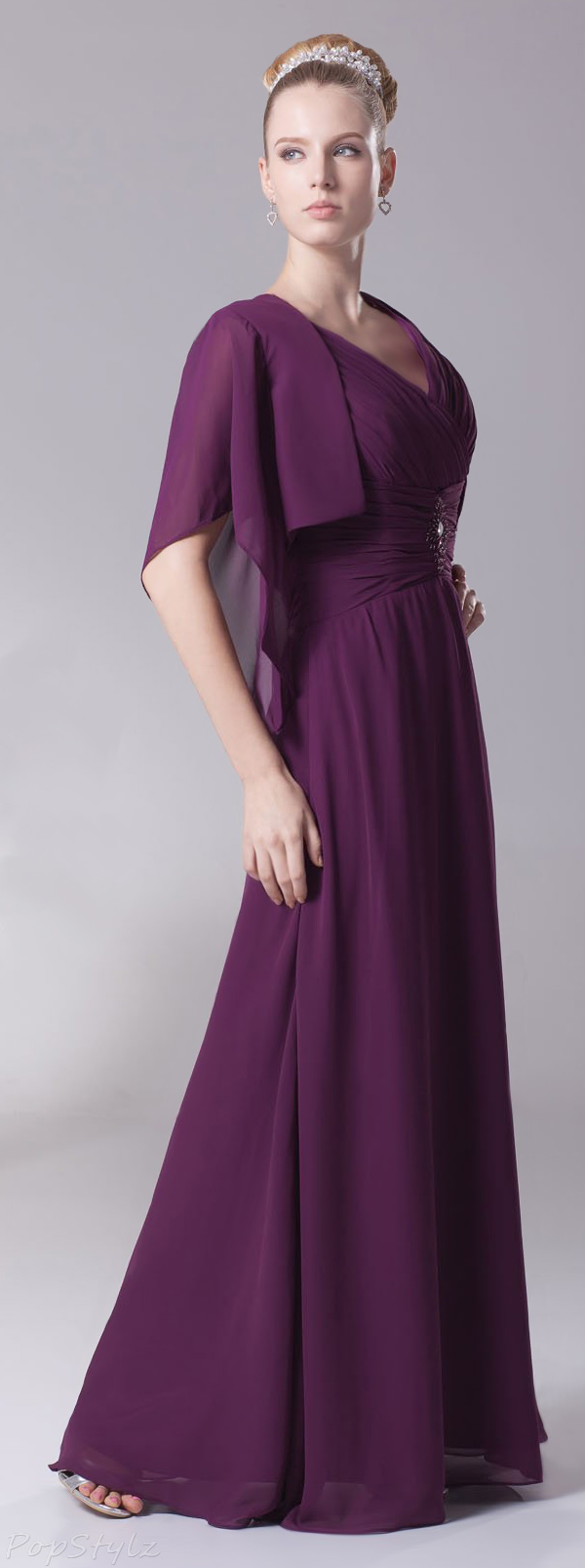 Heyivogue V-Neck Cap Sleeves & Jacket Evening Gown