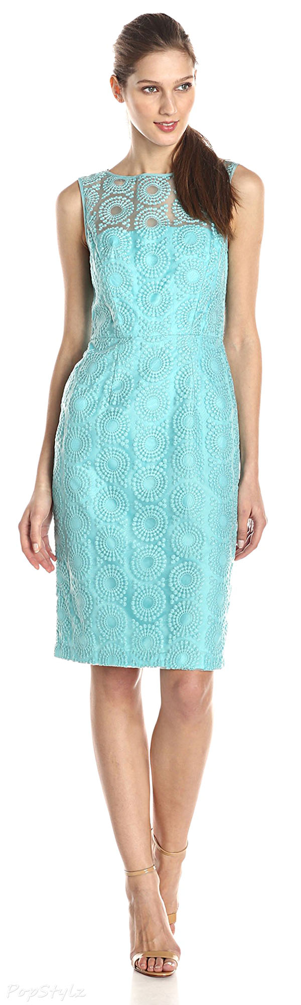 Maggy London Scuba Blue Circle Dot Organza Sheath Dress
