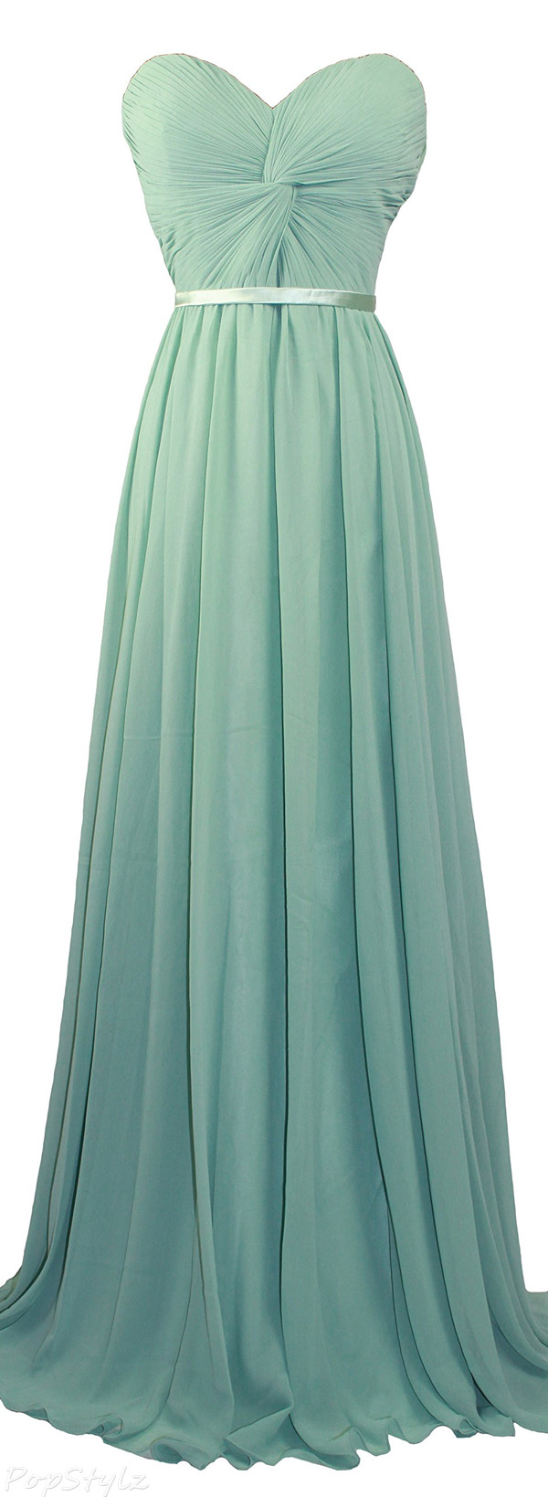 Meier Strapless Sweetheart Pleated Evening Gown