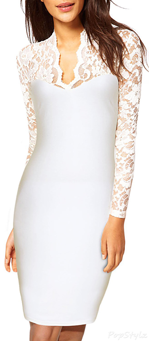 MIUSOL Floral Lace Long Sleeves Lace Midi Dress