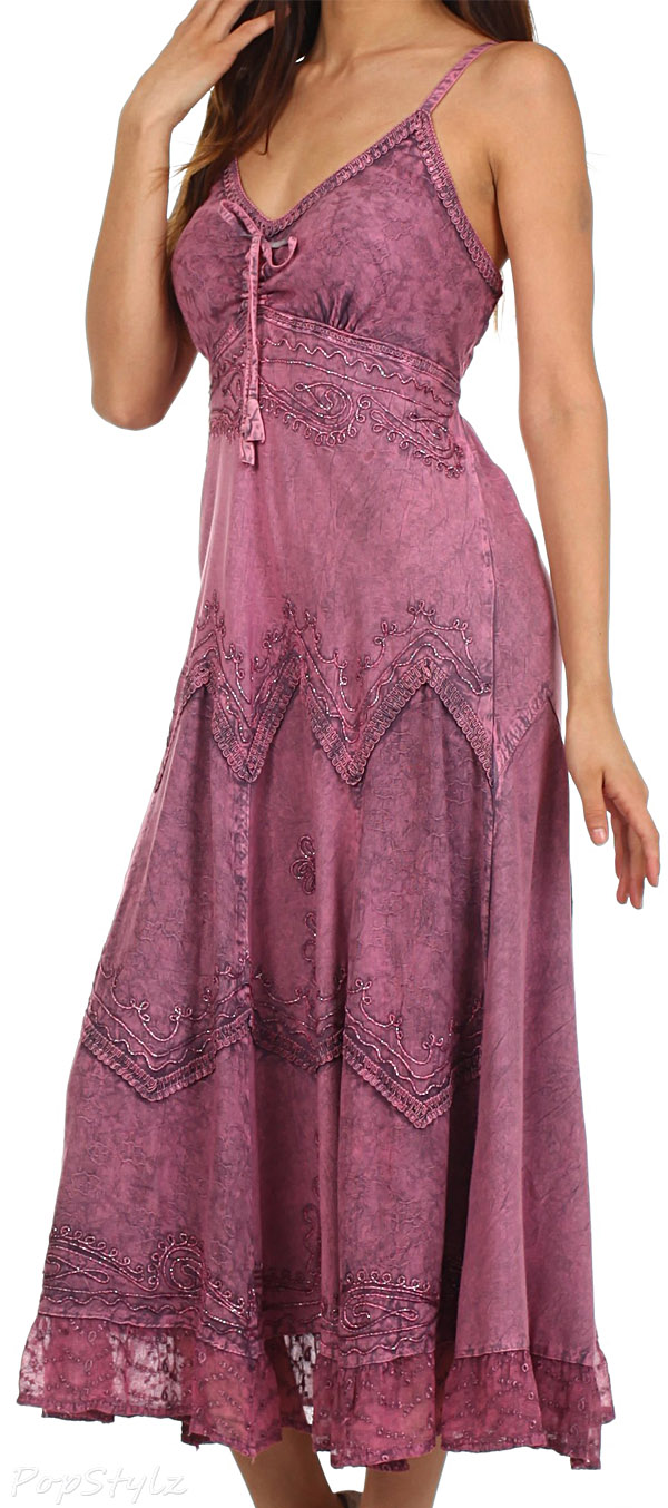 Sakkas Stonewashed Rayon Embroidered Long Dress