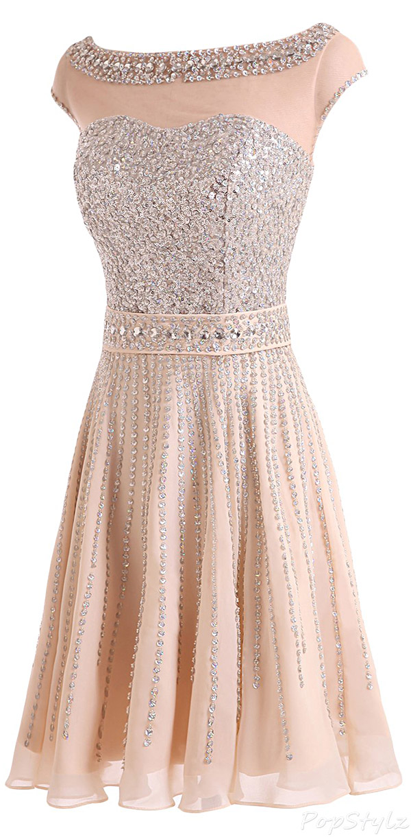 Sunvary Champagne Chiffon & Sequins Short Evening Dress