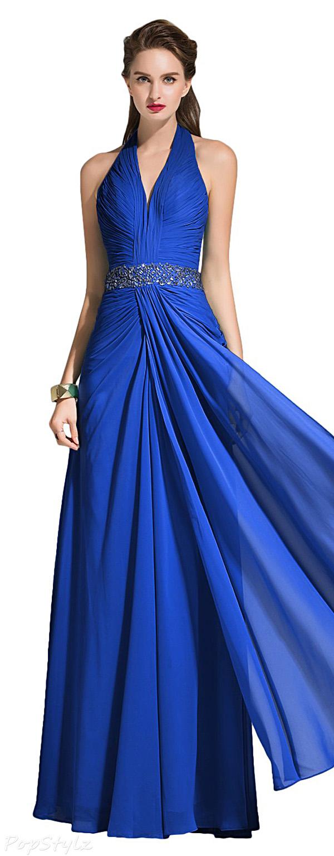 Sunvary Chiffon Halter Long Formal Dress