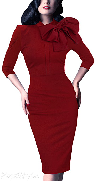Vfemage 1950s Celebrity Bodycon Dress