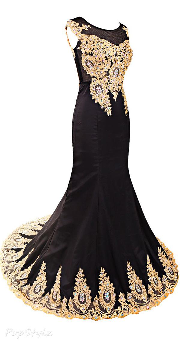 Diyouth Illusion Neckline Cap Sleeves Beaded Mermaid Gown