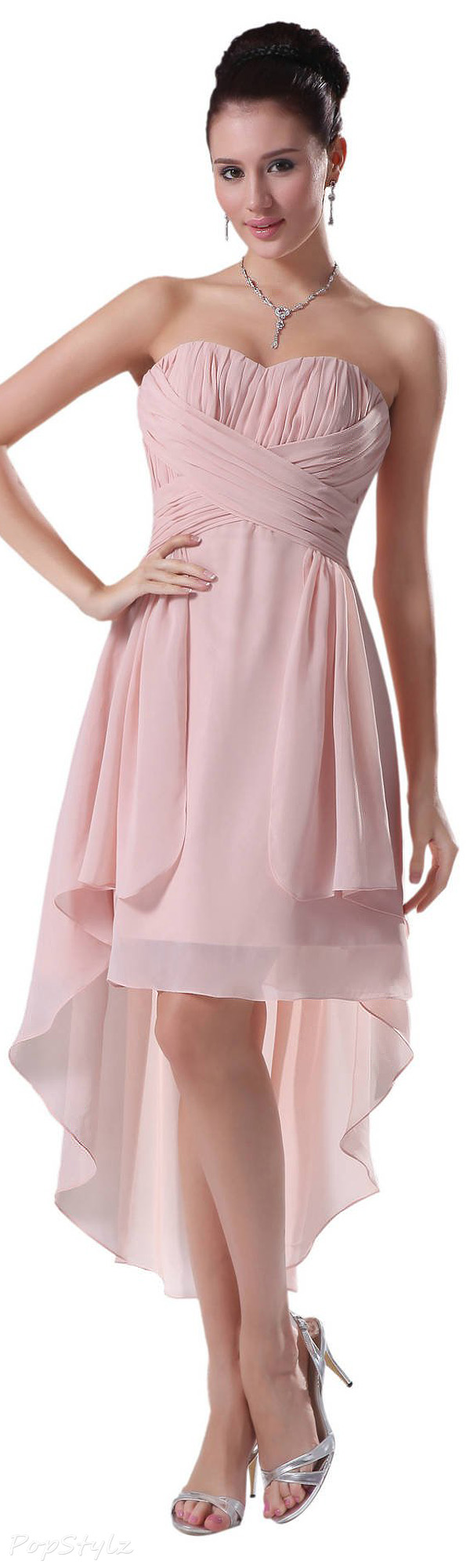 Diyouth Sweetheart Strapless High Low Evening Gown