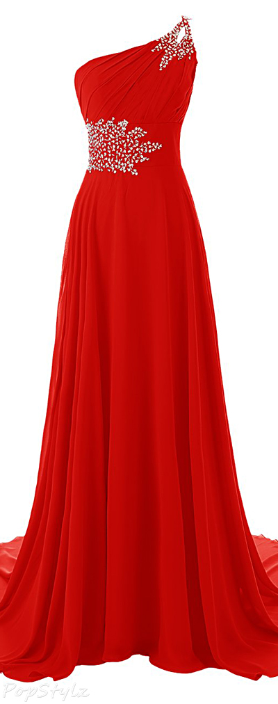 Diyouth One Shoulder Beaded Mermaid Gown with Train