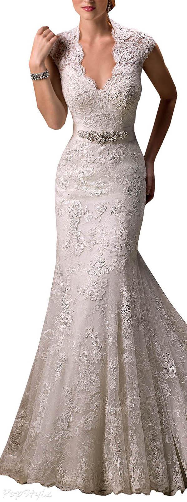 Harshori V-Neckline Cap-Sleeve Lace & Tulle Satin Wedding Gown