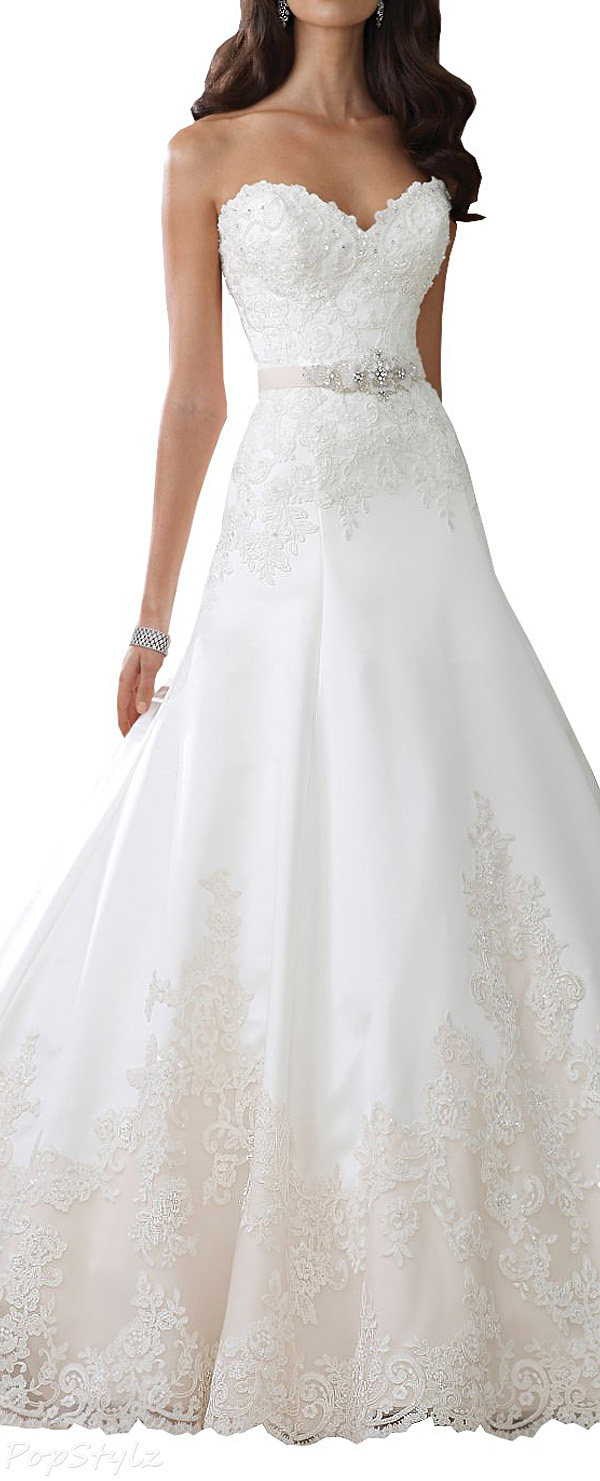 Harshori Strapless Lace Tulle & Satin A-line Wedding Gown