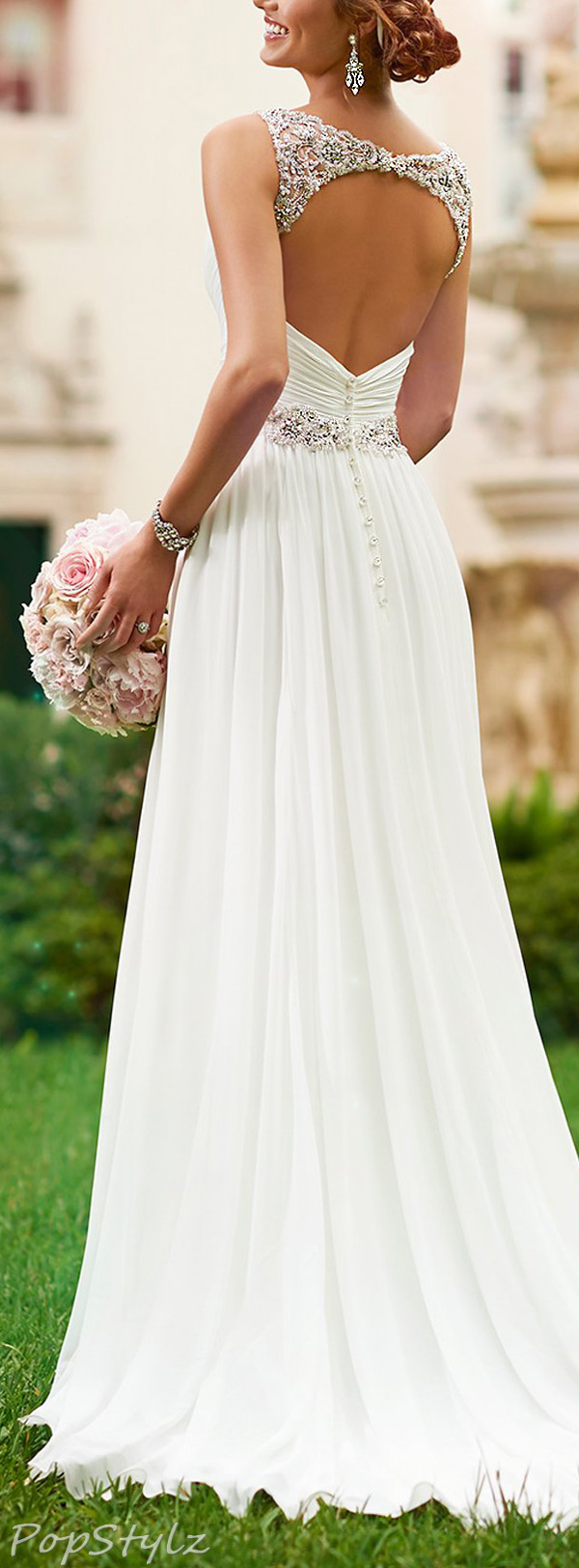 Harshori V-Neck Detailed Shoulder Straps Wedding Gown