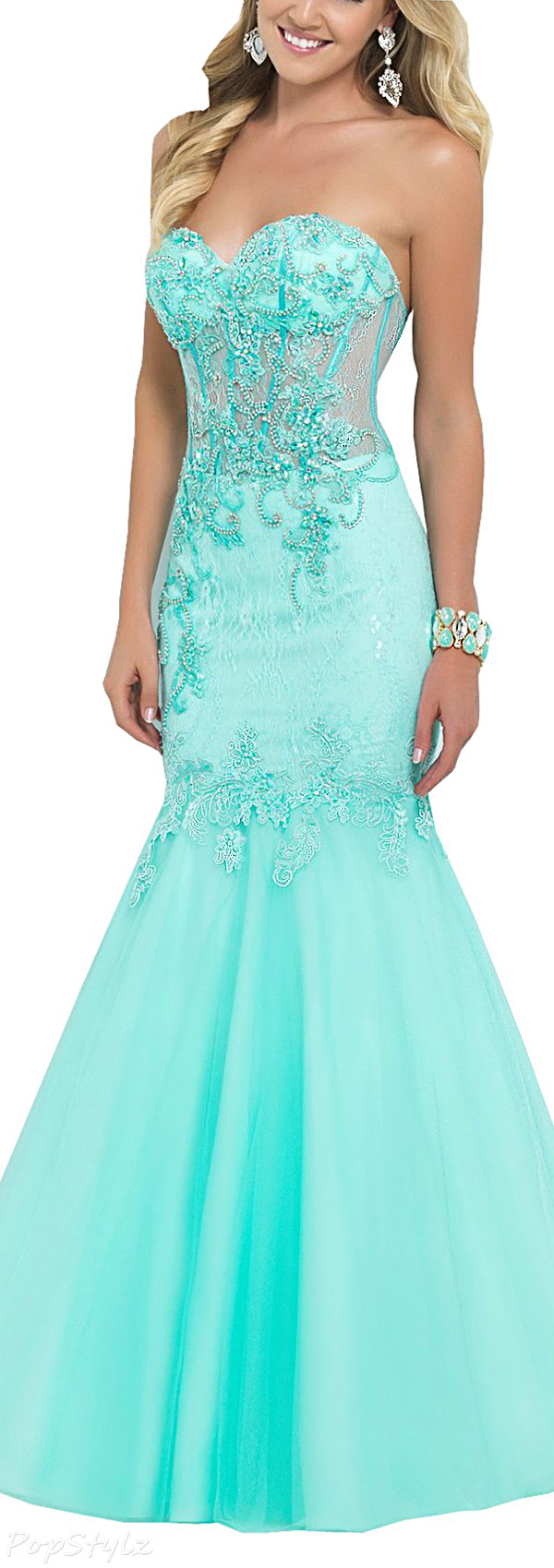 Harshori Strapless Sweetheart Sparkling Mermaid Evening Gown