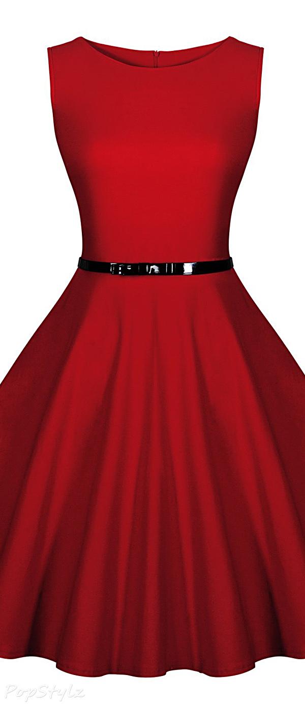 MIUSOL Retro Polka Dot Sleeveless Dress with Belt