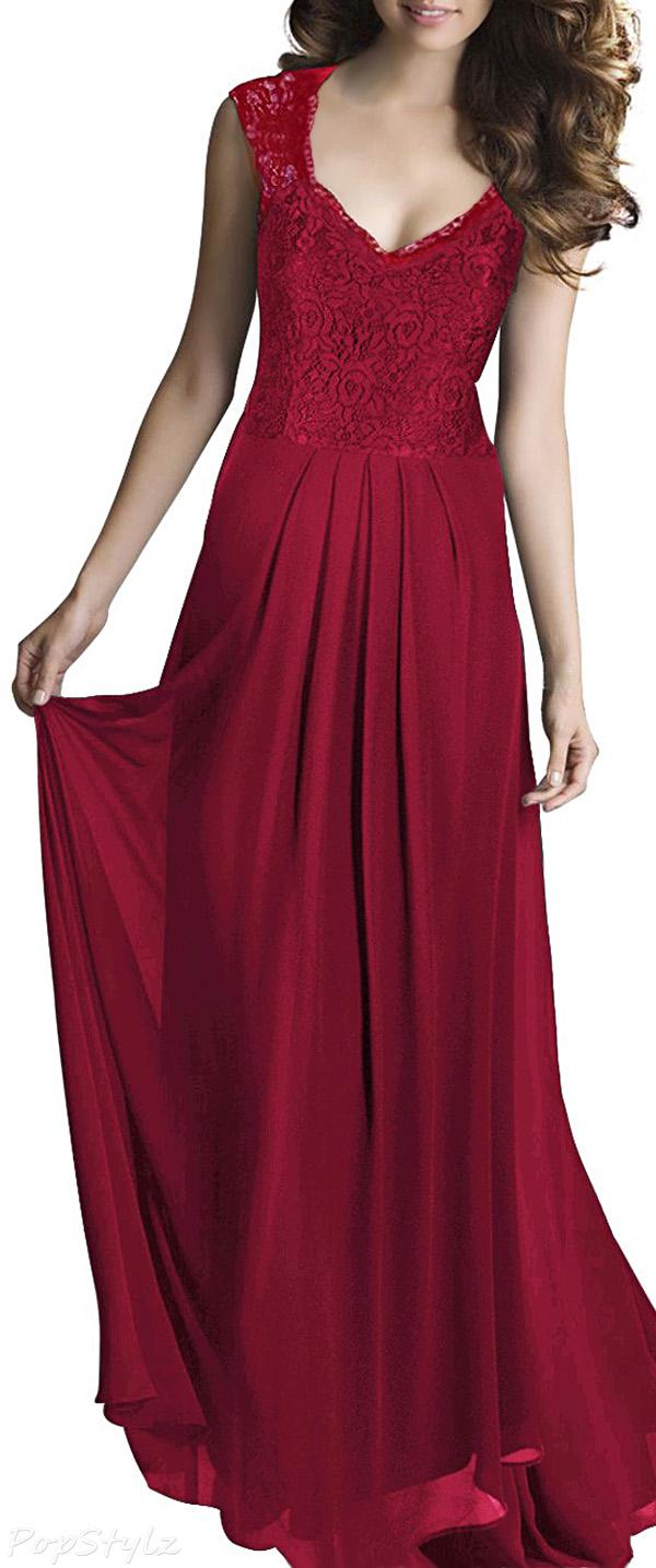 MIUSOL Vintage Casual Sleeveless Deep V-Neck Maxi Dress