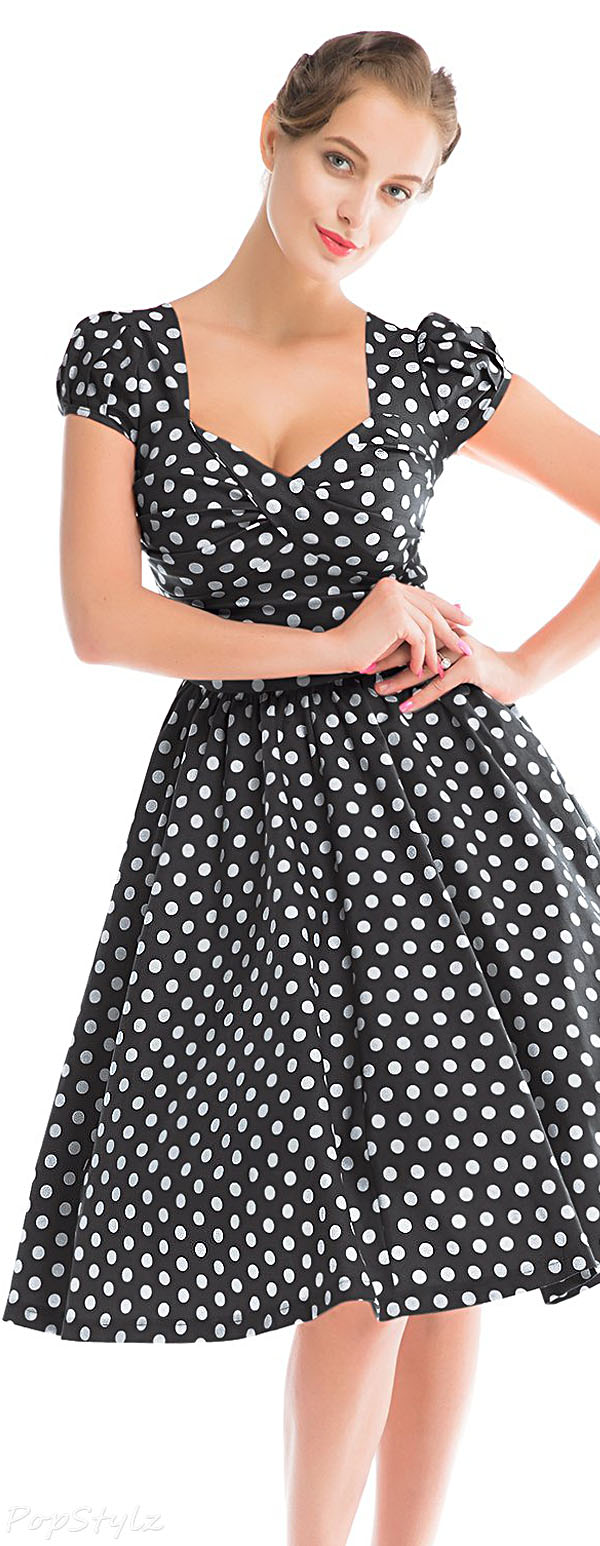 MUXXN Vintage Polka Dot Swing Cocktail Party Dress