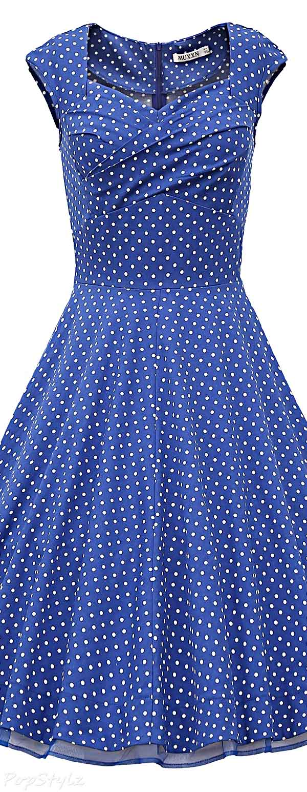 MUXXN Polka Dot Vintage 1950s Retro Swing Party Dress