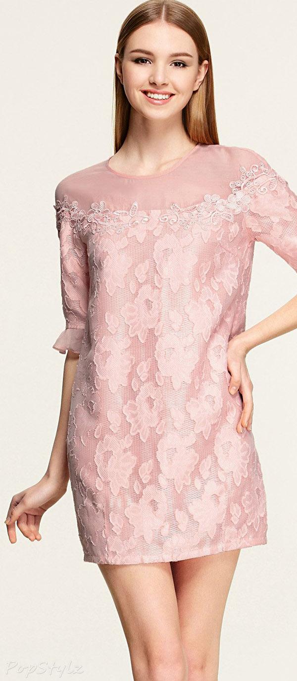 OSA Carmine Pink Half Puff Sleeve Party Dress