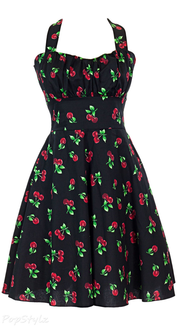 Sidecca Retro 1950s Cherry Print Halter Swing Dress