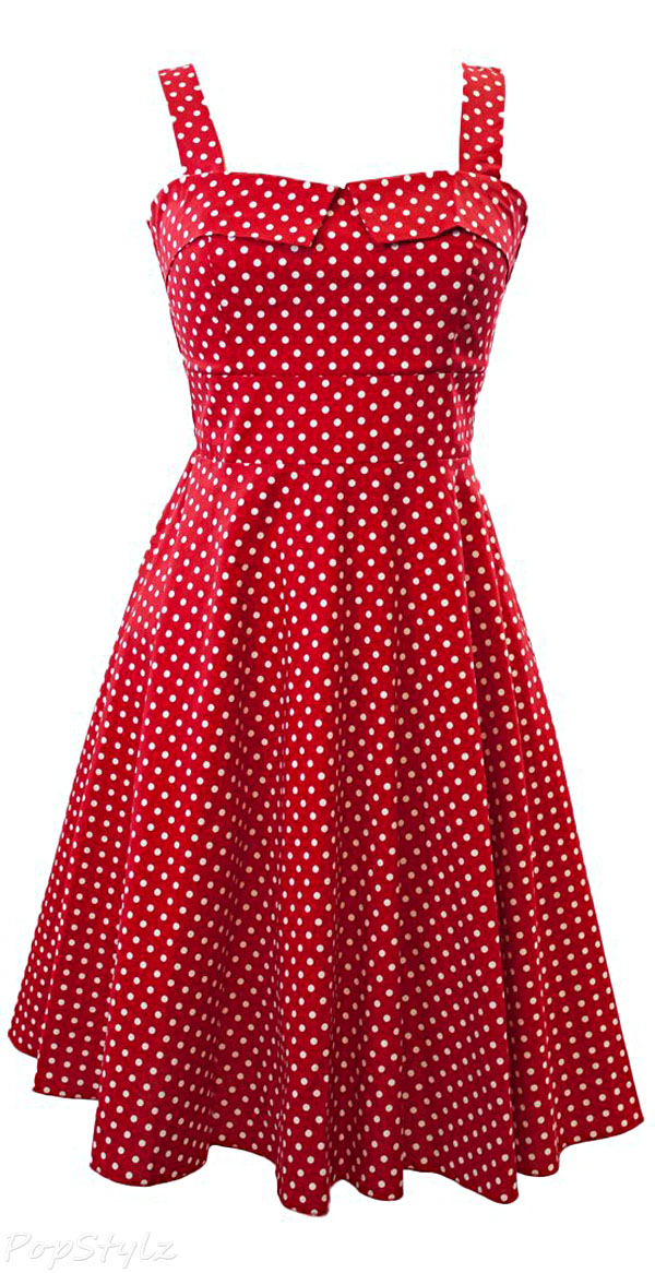 Sidecca Retro 1950s Mini Polka Dot Empire Swing Dress