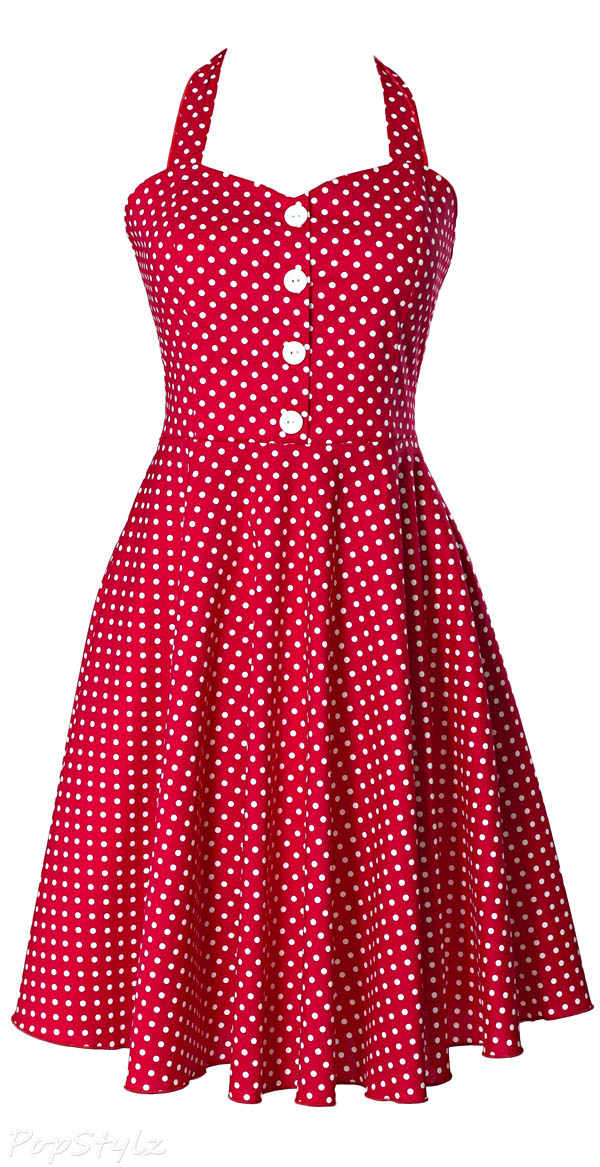 Sidecca Retro 1950s Polka Dot Vintage Button Halter Swing Dress