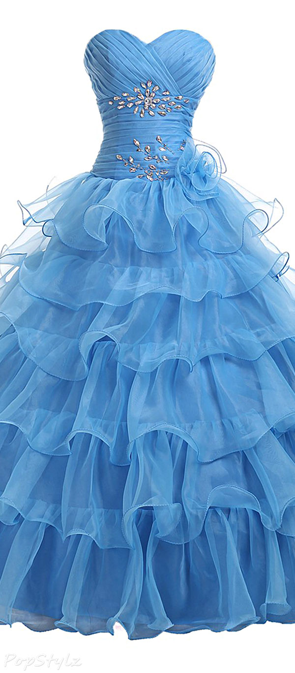Sunvary AEL173 Strapless Sweetheart Ruffled Formal Gown