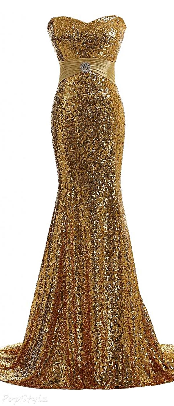 Gorgeous Bridal Long Fitted Glitzy Sequined Gown