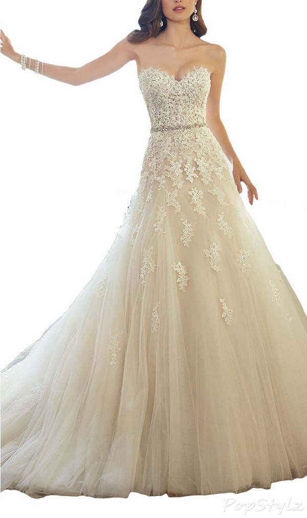 HoneeyGirl Sweetheart Strapless Lace Appliques Gown