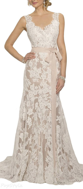 HoneeyGirl  Vintage Open Back Lace Bride Wedding Gown