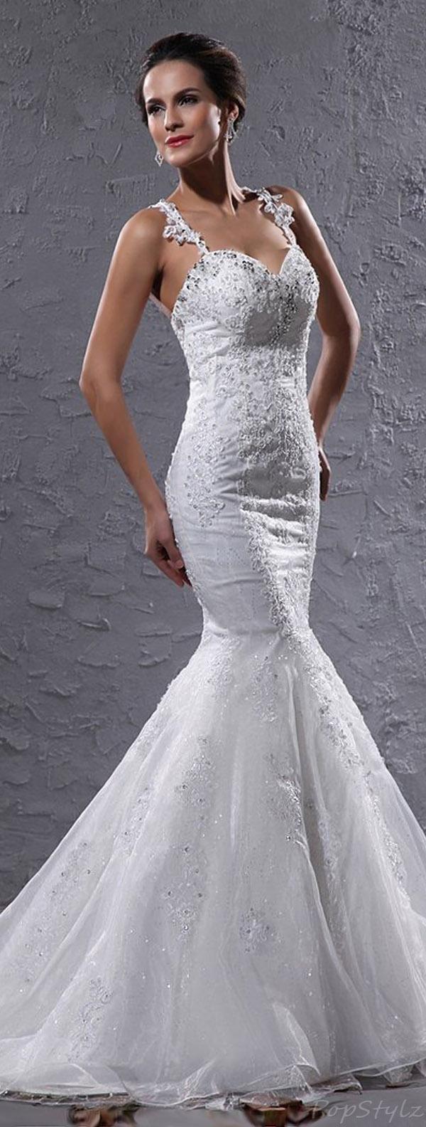 HoneeyGirl Lace Organza Mermaid Wedding Bridal Gown