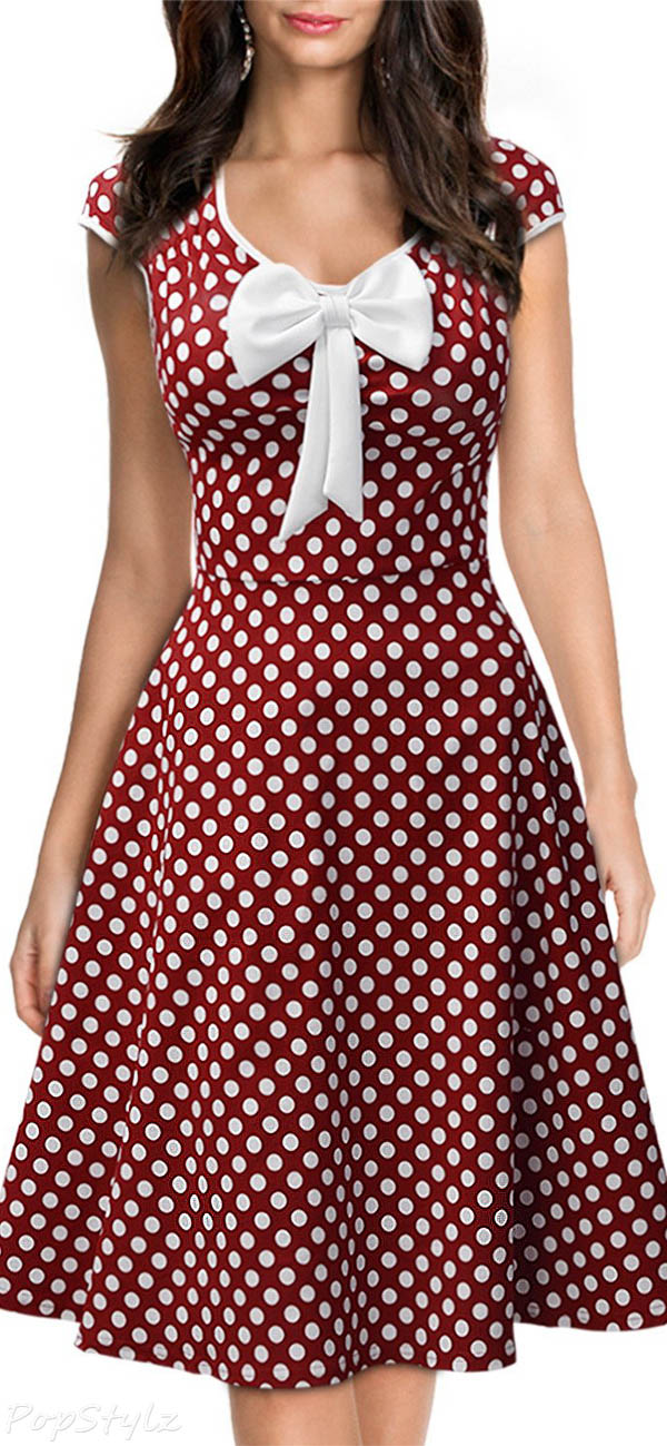 MIUSOL Vintage 1950'S Polka Dot Retro Party Dress