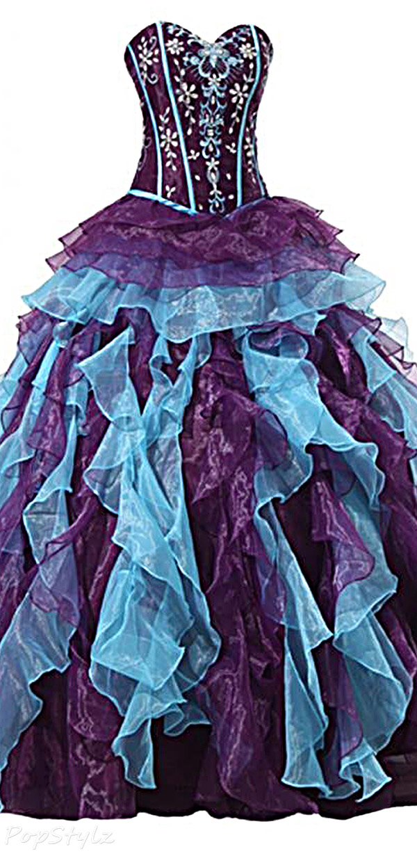 Sunvary Blue & Purple Strapless Ruffled Ball Gown