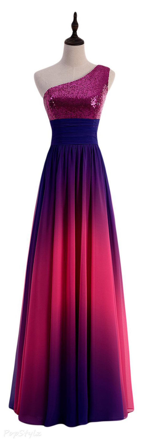 Sunvary Sequins & Chiffon Gradient Evening Gown
