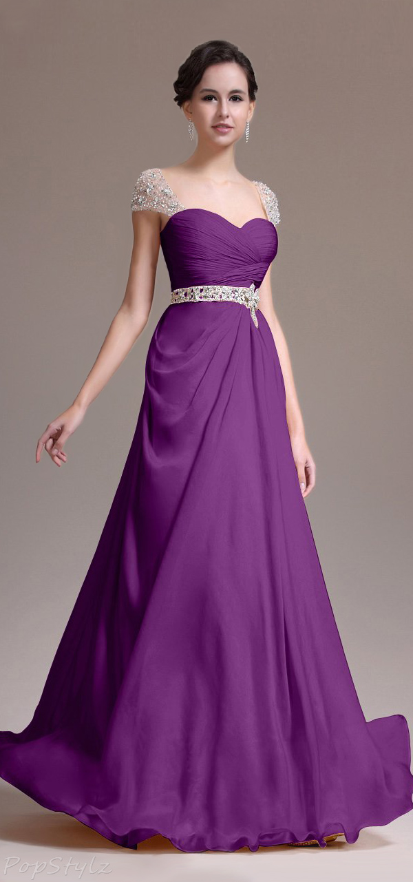 Topwedding Beaded Cap Sleeves Jewelled Belt Evening Gown
