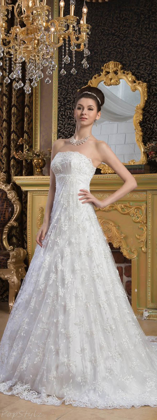 Topwedding Strapless Empire Lace Wedding Dress with Court Train