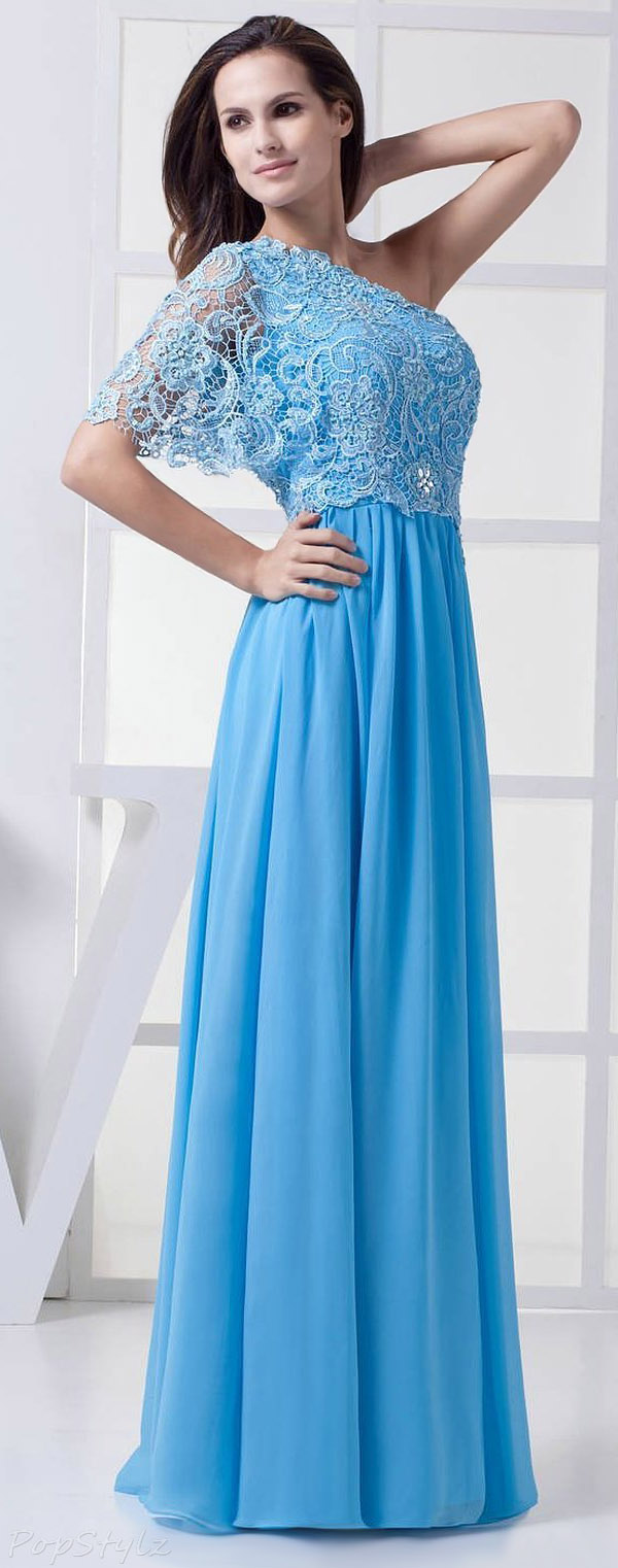 Diyouth Long One Shoulder Lace Appliques Evening Gown