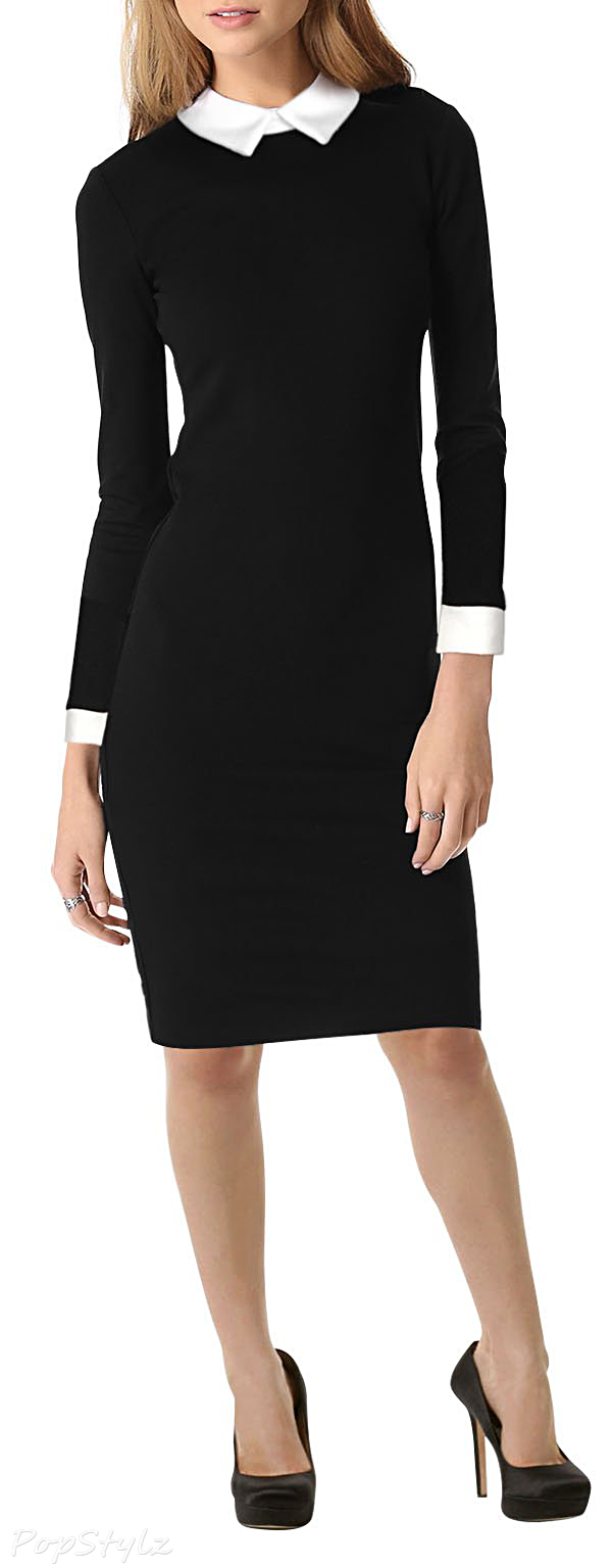 MIUSOL Long Sleeve Black Contrast Color Business Pencil Dress