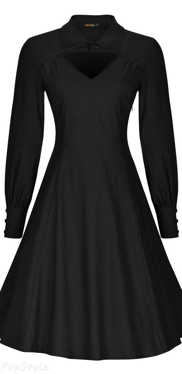 MIUSOL Retro Long Sleeve Vintage 1950's Dress