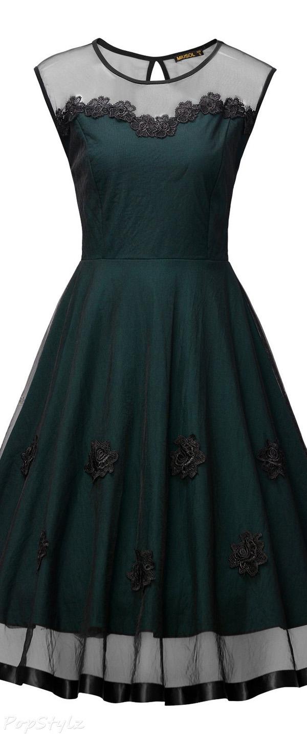 MIUSOL Elegant Illusion Floral Lace Cap Sleeve Dress