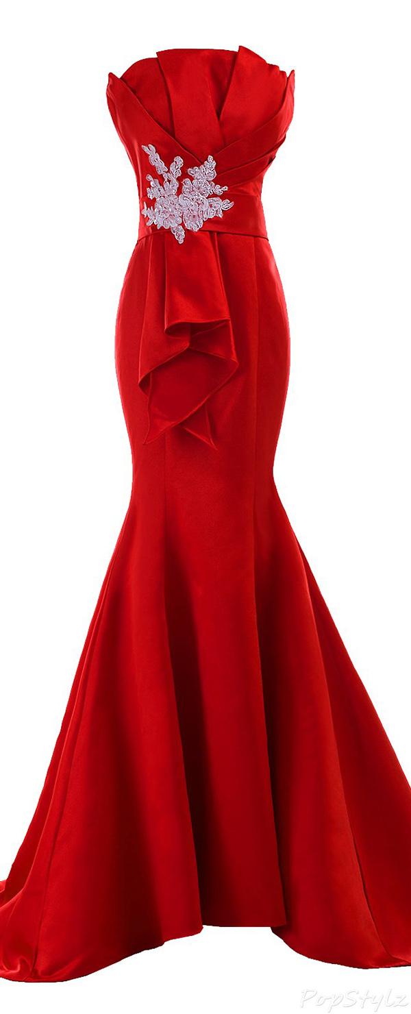Sunvary 2015 Fancy Satin Sheath Mermaid Evening Gown