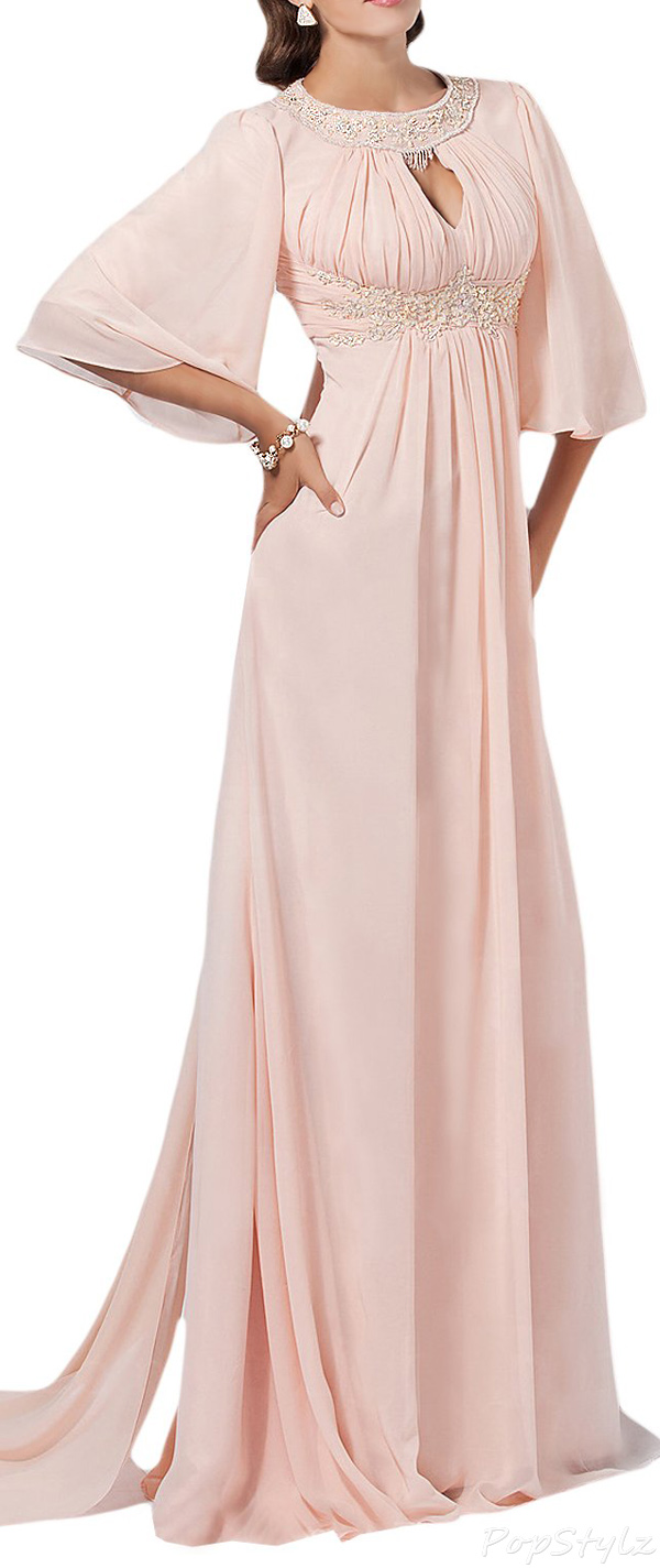 Sunvary Empire Pink Chiffon Half Sleeves Formal Dress
